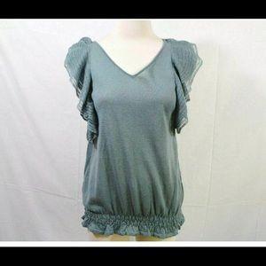LOFT Seafoam Green linen V-Neck ruffle sweater